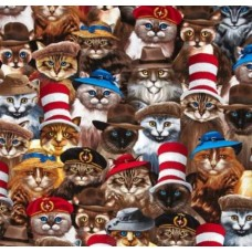 Cats Amazing Cats in Hats Cotton Fabric from Timeless Treasures Fabric Traders