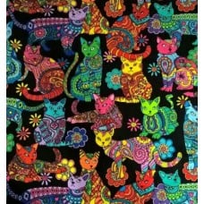 REMNANT - Colour Me Cats Multi Cotton Fabric by Timeless Treasures Fabric Traders
