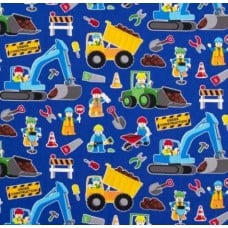 REMNANT - Construction Zone Royal Cotton Fabric by Timeless Treasures (Piece: 28cm x 110cm)