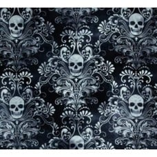 Skulls Damask in Charcoal Cotton Fabric by Timeless Treasures