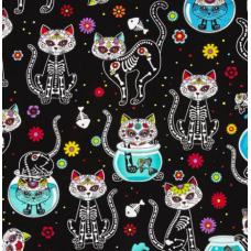 REMNANT - Day Of The Dead Kitty Black Cotton Fabric by Timeless Treasures Fabric Traders