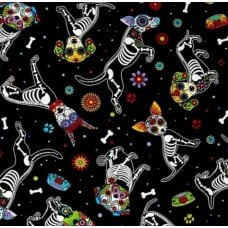 Day of the Dead Pups Black Cotton Fabric by Timeless Treasures