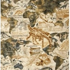 Dinosaur Bones and Maps Cotton Fabric from Timeless Treasures