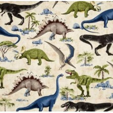 Dinosaur Scenes Cotton Fabric from Timeless Treasures