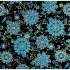 Floral Medallions Cotton Fabric Black by Timeless Treasures