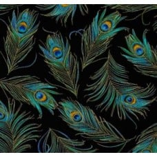 Enchanted Plume Metallic Peacock Feathers Cotton Fabric Black by Timeless Treasures