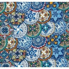 REMNANT - Fiesta Plates in Blue Cotton Fabric by Timeless Treasures
