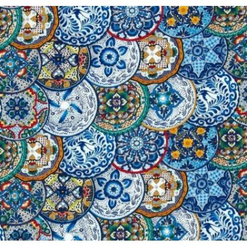 fiesta plates in blue cotton fabric by timeless treasures fabric traders - Fiesta Plates