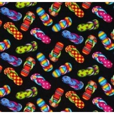 Flip Flops Cotton Fabric in Black by Timeless Treasures Fabric Traders