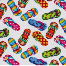 Flip Flops Cotton Fabric in White by Timeless Treasures Fabric Traders