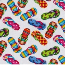 Flip Flops Cotton Fabric in White by Timeless Treasures