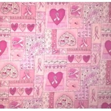 Hearts of Hope Cotton Fabric in Pink Fabric Traders