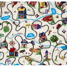 Home Sweet Home Neighbourhood Map Cotton Fabric by Timeless Treasures