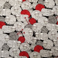 Flannel Woolly Sheep Balls of Wool Cotton Fabric