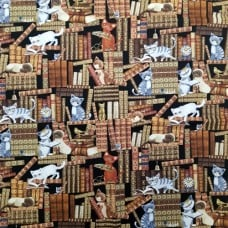 The Cutest Cats In The Library Cotton Fabric by Timeless Treasures