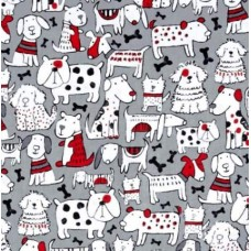 Dogs on Grey Cotton Fabric by Timeless Treasures