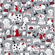 REMNANT - Dogs on Grey Cotton Fabric by Timeless Treasures