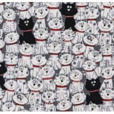 Happy Cats and Cats on Grey Cotton Fabric