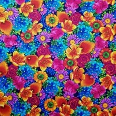 Flowers in Full Bloom Cotton Fabric