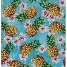 Pineapples on Blue Cotton Fabric by Timeless Treasures