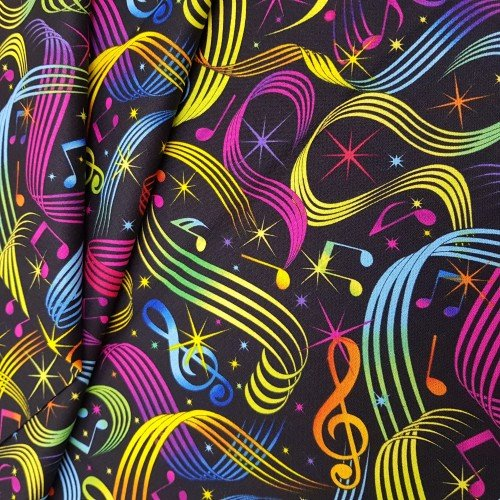 Music Notes Multi Cotton Fabric By Timeless Treasures Fabric Traders