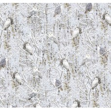 A Winter of White Owls Cotton Fabric by Timeless Treasures