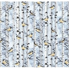 A Winter of Snowbirds Powder Cotton Fabric by Timeless Treasures