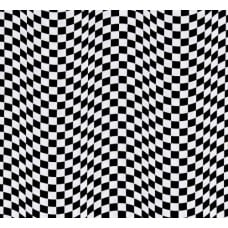 Checkered Flag Cotton Fabric in black And White