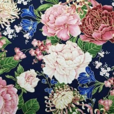 Chrysanthemums And Peonies Cotton Fabric by Timeless Treasures