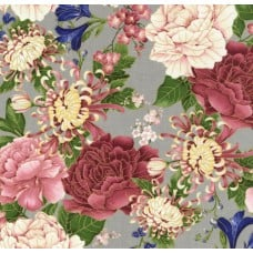 Chrysanthemums And Peonies Grey Cotton Fabric by Timeless Treasures