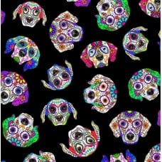 Day Of The Dead Dog Heads Black Cotton Fabric by Timeless Treasures Fabric Traders