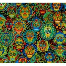 Day Of The Dead Sugar Skulls Cotton Fabric by Timeless Treasures Fabric Traders