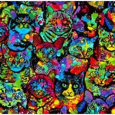 Brite Cats Multi by Timeless Treasures Fabric Traders