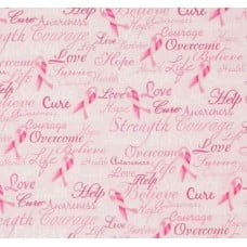 Ribbons of Hope Cotton Fabric in Pink by Timeless Treasures