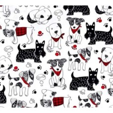 Scribble Dogs on White Cotton Fabric by Timeless Treasures Fabric Traders