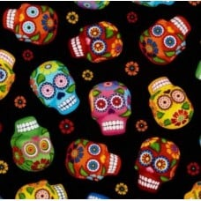 Skulls in Black Cotton Fabric by Timeless Treasures