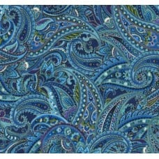 Paisley in Metallic and Blue Cotton Fabric by Timeless Treasures