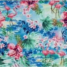 Tropical Flamingos and Foliage in Blue Cotton Fabric by Timeless Treasures