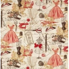 Vintage Sewing in Red Cotton Fabric Fabric Traders