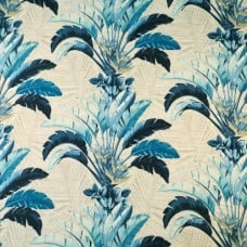 Banana Leaves Spray Outdoor Fabric in Blue by Tommy Bahama Fabric Traders