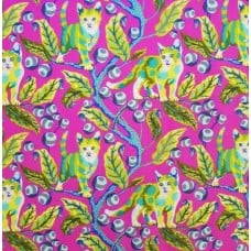 Disco Kitty Berry Cotton Fabric in Hot Pink by Tula Pink