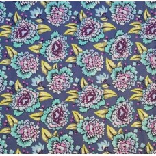 Elizabeth Flowers Cotton Fabric in Blue by Tula Pink