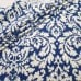Damask in Blue and Natural White Cotton Home Decor Fabric Fabric Traders
