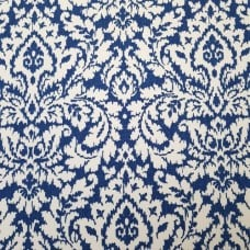 Damask in Blue and Natural White Cotton Home Decor Fabric