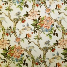 Luxurious Mudan Cotton Home Decor Fabric in Persimmon by Waverly Fabric Traders