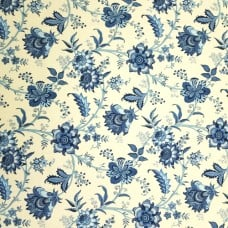Island Gem Cotton Home Decor Fabric By Waverly in Blue and Cream