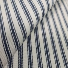 Ticking Stripe Luxe Cotton Home Decor Fabric Navy and Cream by Waverly Fabric Traders