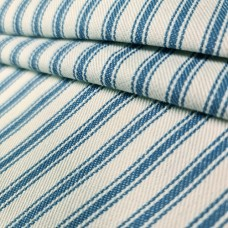 Ticking Stripe Classic Woven Cotton Fabric Duck Blue and Natural White