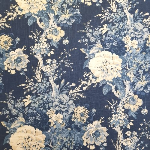 Luxe Floral Ballad Bouquet Home Decor Fabric In Blue Traders