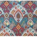 Boho Indoor Outdoor Fabric in Red and Turquoise